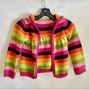 Gymboree hooded cardigan sweater striped size 5